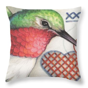 Hummingbird Handiwork Throw Pillow by Amy S Turner