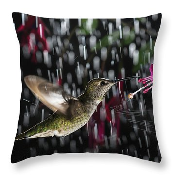 Throw Pillow featuring the photograph Hummingbird Hovering In Rain With Splash by William Lee