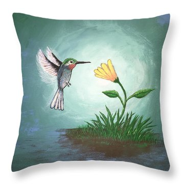 Throw Pillow featuring the painting Hummingbird II by Antonio Romero