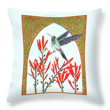 Hummingbird In Opening Throw Pillow by Lise Winne