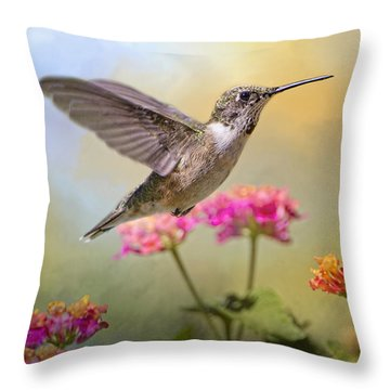 Hummingbird In The Garden Throw Pillow by Bonnie Barry