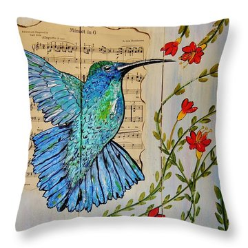 Throw Pillow featuring the painting Hummingbird Minuet In G by Cindy Micklos