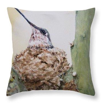 Hummingbird Nesting In Cactus Throw Pillow