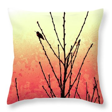 Hummingbird Peach Tree Throw Pillow