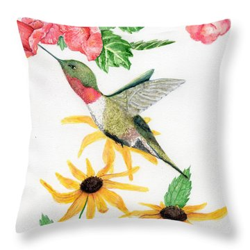 Throw Pillow featuring the painting Hummingbird by Peggy A Borel