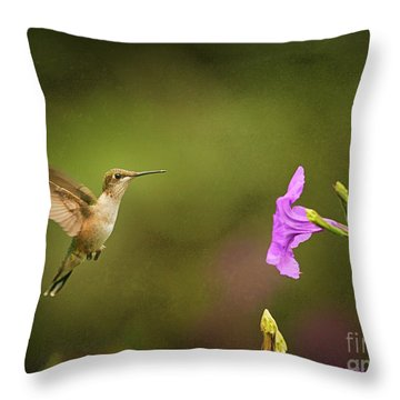 Throw Pillow featuring the photograph Hummingbird Pink Flower by Charles McKelroy