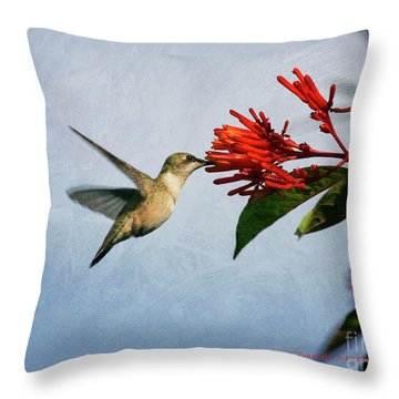 Hummingbird Red Flowers Throw Pillow