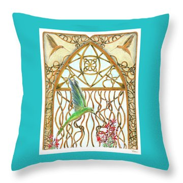 Hummingbird Sanctuary Throw Pillow by Lise Winne