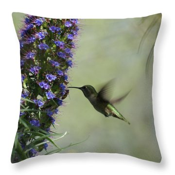 Hummingbird Sharing Throw Pillow by Ernie Echols