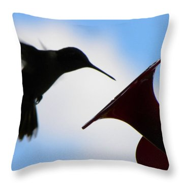 Throw Pillow featuring the photograph Hummingbird Silhouette by Sandi OReilly