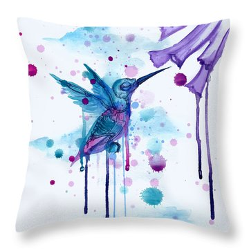 Hummingbird Skeleton 2.0 Throw Pillow