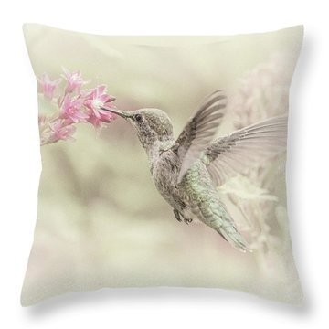Throw Pillow featuring the photograph Hummingbird Softly by Angie Vogel