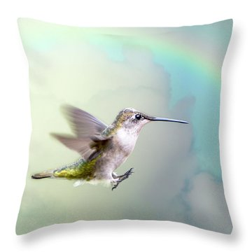 Throw Pillow featuring the photograph Hummingbird Under Rainbow by Bonnie Barry