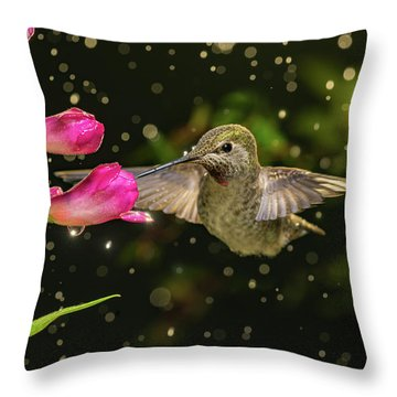 Throw Pillow featuring the photograph Hummingbird Visits Flowers In Raining Day by William Lee