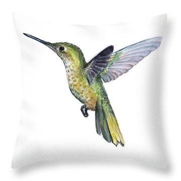 Hummingbird Watercolor Illustration Throw Pillow