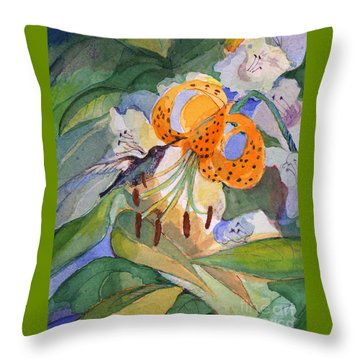 Throw Pillow featuring the painting Hummingbird With Flowers by Nancy Watson