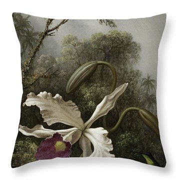 Hummingbird With White Orchid Throw Pillow