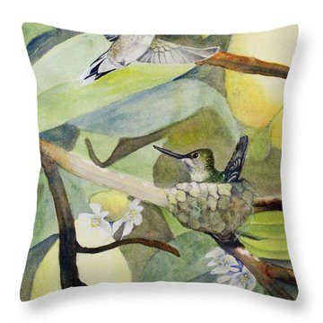 Hummingbirds And Lemons Throw Pillow