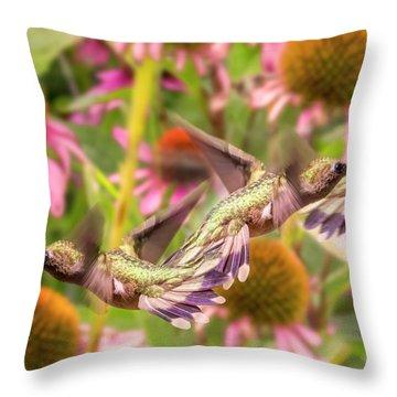 Hummingbirds Autumn Is Near Throw Pillow