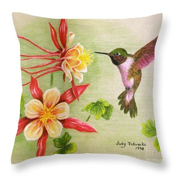 Throw Pillow featuring the painting Hummingbird's Delight by Judy Filarecki