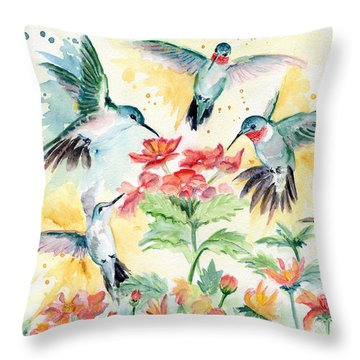 Hummingbirds Party Throw Pillow