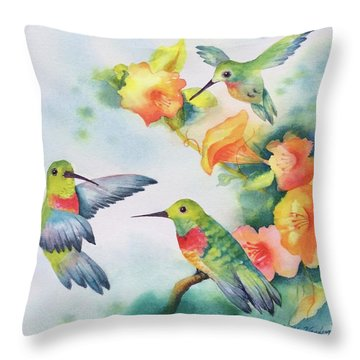 Hummingbirds With Orange Flowers Throw Pillow