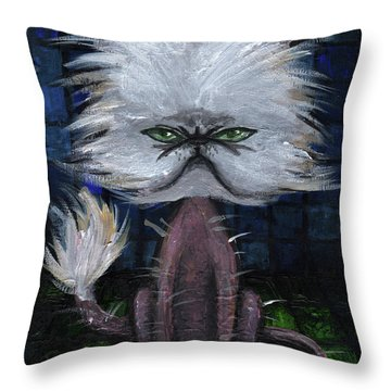 Humorous Cat Throw Pillow