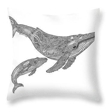 Humpback And Calf Throw Pillow