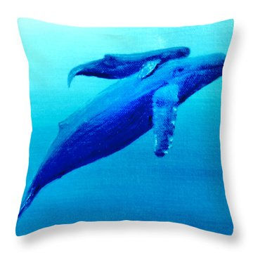 Humpback Mother Whale And Calf  #11 Throw Pillow by Donald k Hall
