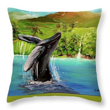 Humpback Whale Breaching At Haleakala Hawaii Throw Pillow by Bernadette Krupa