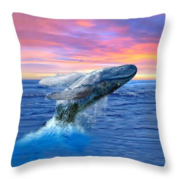 Humpback Whale Breaching At Sunset Throw Pillow