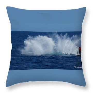 Humpback Whale Breaching Close To Boat 23 Image 3 Of 4 Throw Pillow