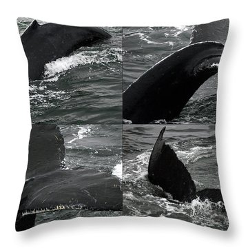 Humpback Whale Fluke Montage Throw Pillow