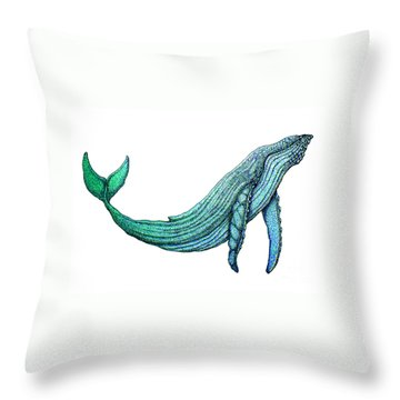 Humpback Whale Throw Pillow by Nick Gustafson