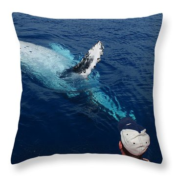 Humpback Whale Reaching Out Throw Pillow