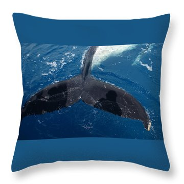 Humpback Whale Tail With Human Shadows Throw Pillow