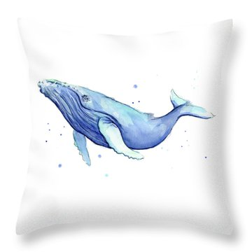 Humpback Whale Watercolor Throw Pillow