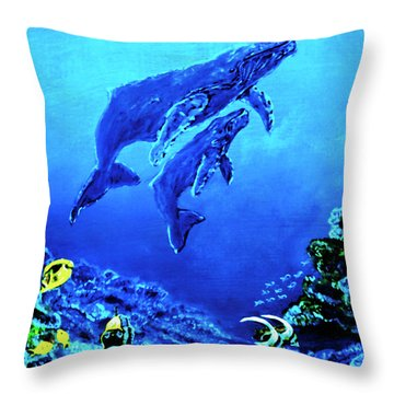 Humpback Whales Hawaii An Reef #14 Throw Pillow by Donald k Hall