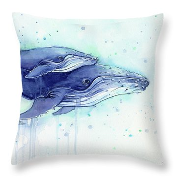 Humpback Whales Mom And Baby Watercolor Painting - Facing Right Throw Pillow