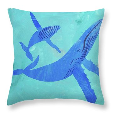 Throw Pillow featuring the painting Humpback Whales by Candace Shrope