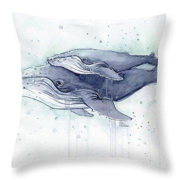 Humpback Whales Painting Watercolor - Grayish Version Throw Pillow