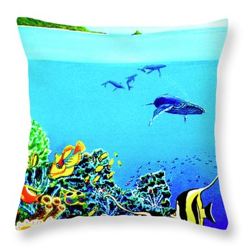 Humpback Whales, Reef Fish #252 Throw Pillow by Donald k Hall