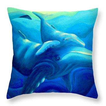 Humpback With Calf Throw Pillow by Lynn Soehner