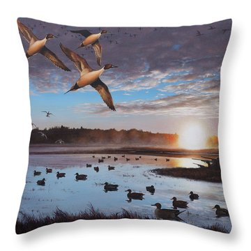 Humphrey Farm Pintails Throw Pillow