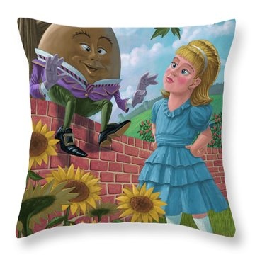 Humpty Dumpty On Wall With Alice Throw Pillow