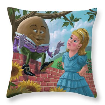 Humpty Dumpty On Wall With Alice Throw Pillow by Martin Davey