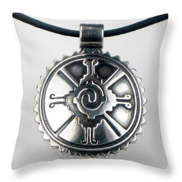 Hunab Ku Mayan Sterling Silver Pendant Throw Pillow