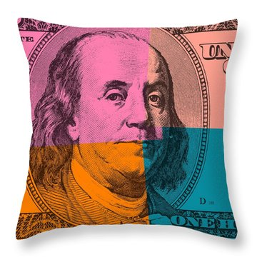 Hundred Dollar Bill Pop Art Throw Pillow