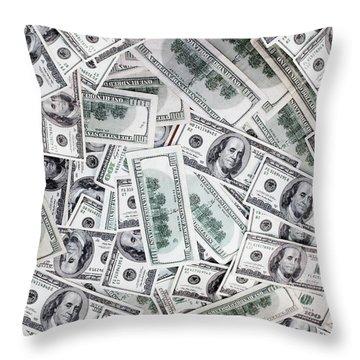 Hundred Dollar Bills Throw Pillow