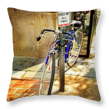 Throw Pillow featuring the photograph Hungarian Conculate Bicycle by Craig J Satterlee